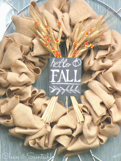 easy fall wreath clean and scentsible. Black Bedroom Furniture Sets. Home Design Ideas
