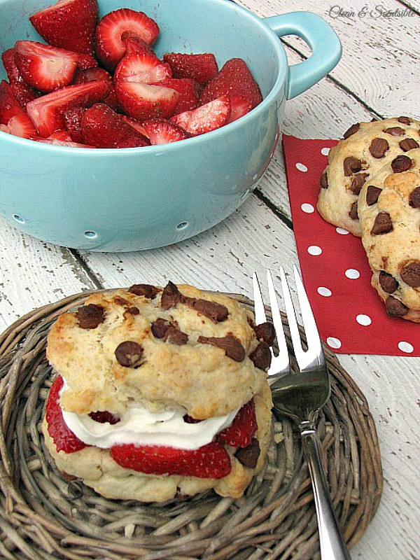 Chocolate Chip Strawberry Shortcakes with fresh strawberries and whipping cream.