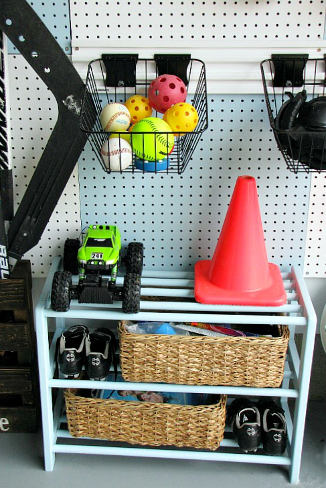 Old shoe organizer used for sports equipment organization.