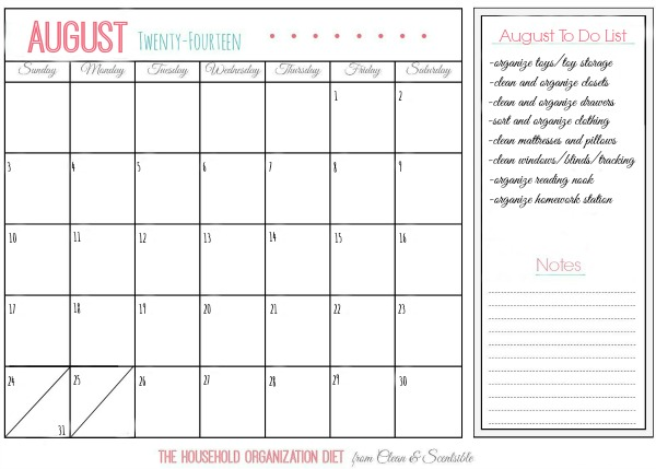 August Household Organization Diet Calendar - Organizing Kids' Rooms. // cleanandscentsible.com