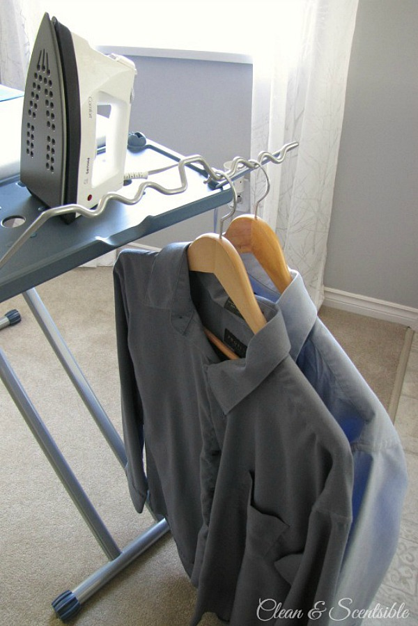 Iron Ease Ironing Board with shirt hanging rail.