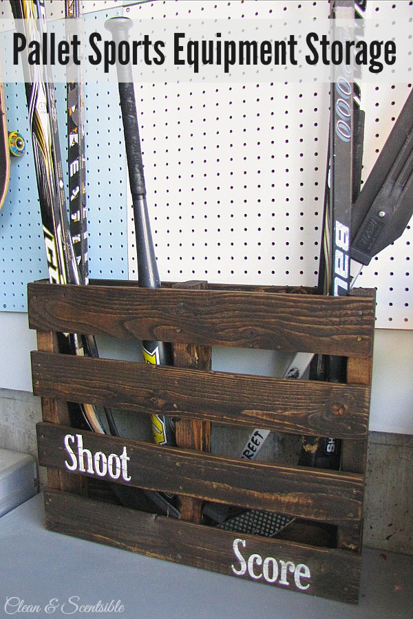 Turn An Old Pallet Into Sports Equipment Storage Pefect For Hockey Sticks Baseball Bats