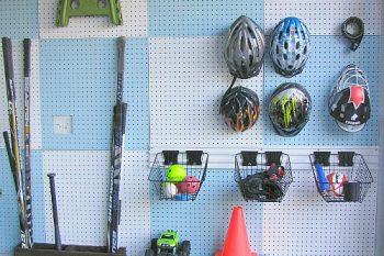 Garage Pegboard Organizer and Sports Equipment Organization