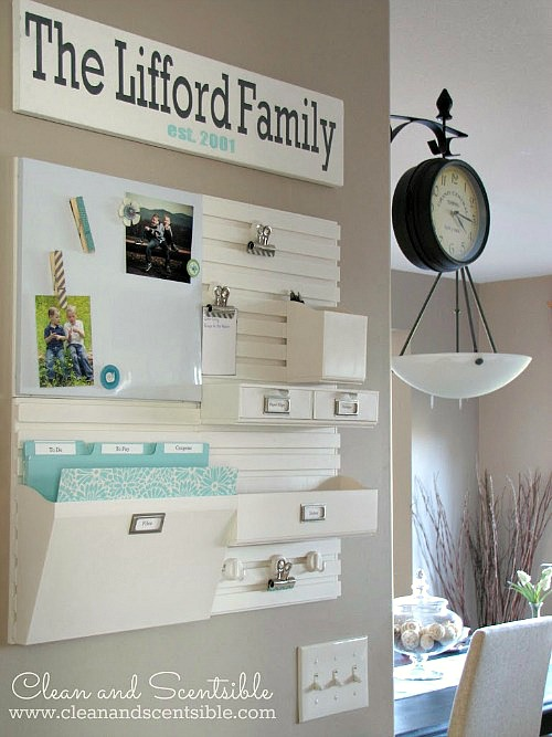 Easy to create kitchen command centre to keep all of the paperwork organized!