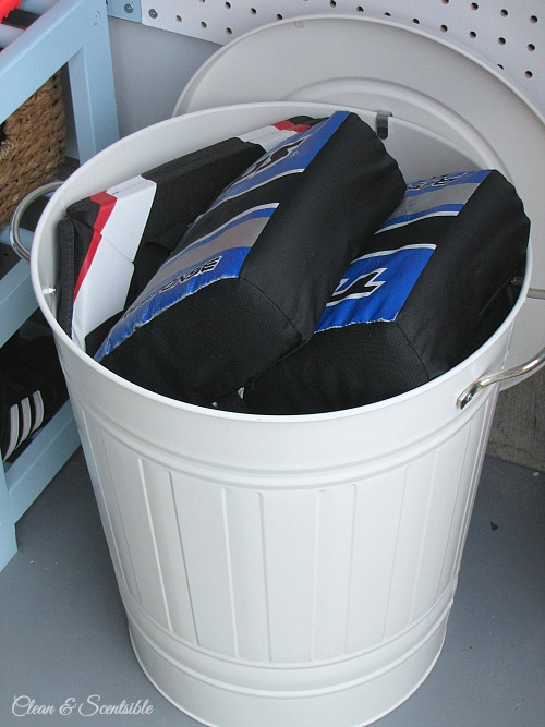 Great ideas to help organize all of that sports equipment! // cleanandscentsible.com