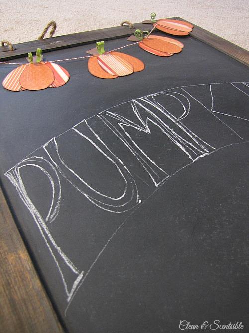 Fall Chalkboard and cute mini-pumpkin bunting. // cleanandscentsible.com
