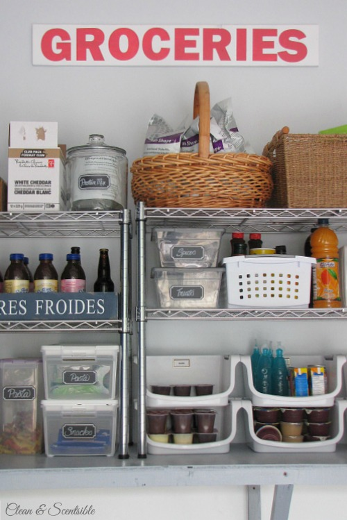 Organized pantry space in the garage.