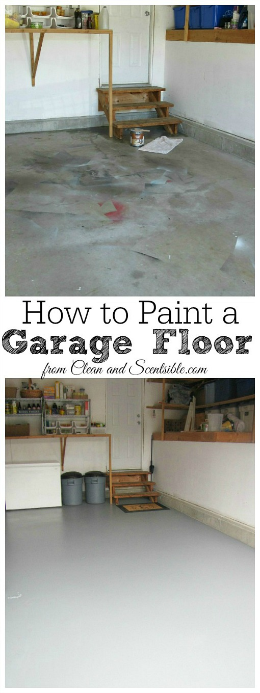 Before and after pictures of a painted garage floor.