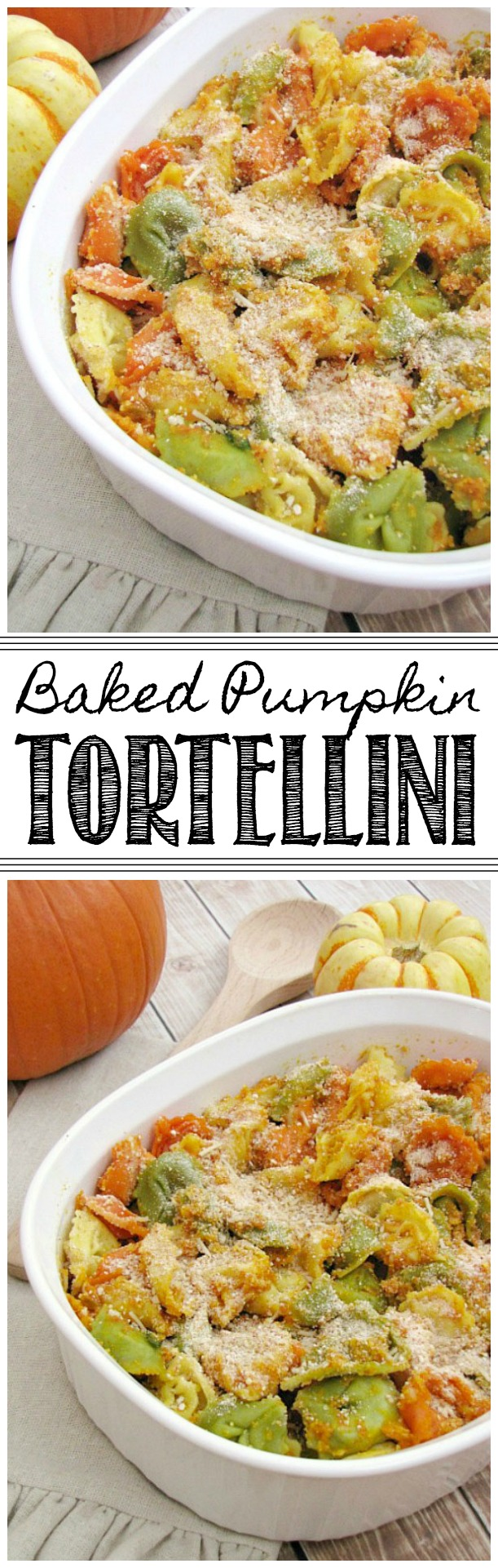 Delicious baked tortellini with a creamy pumpkin sauce.
