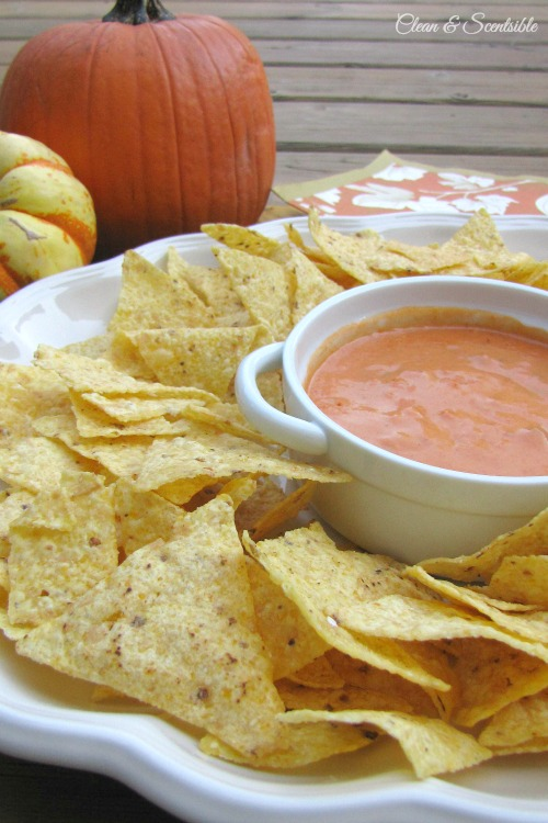 This pumpkin nacho cheese dip will quickly become a fall favorite! // cleanandscentsible.com