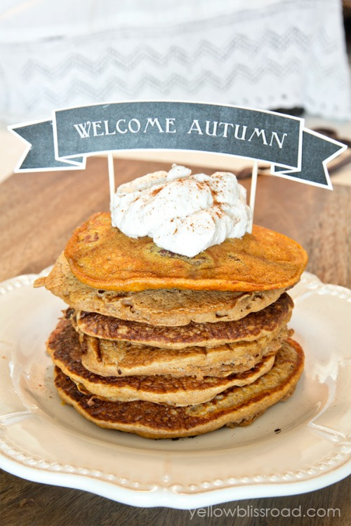 Pumpkin pancakes with lots of other amazing pumpkin recipes for fall! // cleanandscentsible.com