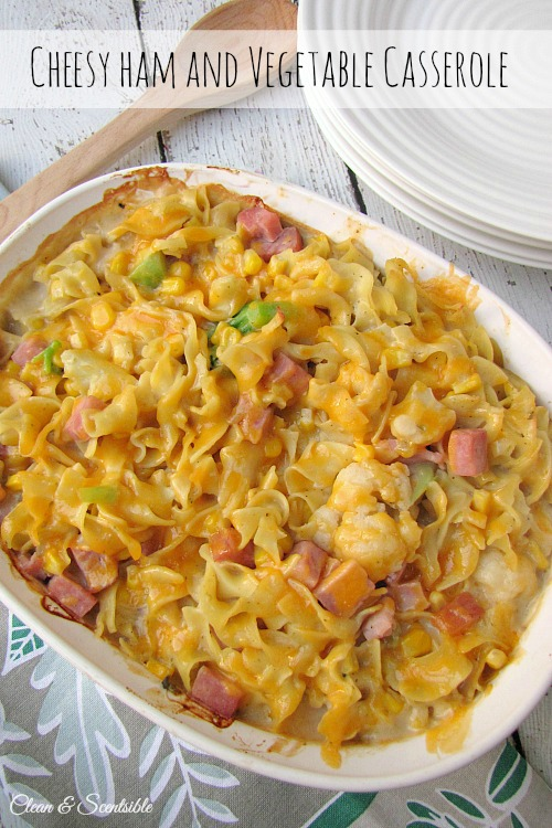 Cheesy pasta, ham and veggie casserole.  Makes a great family meal and works well for freezing! // cleanandscentsible.com