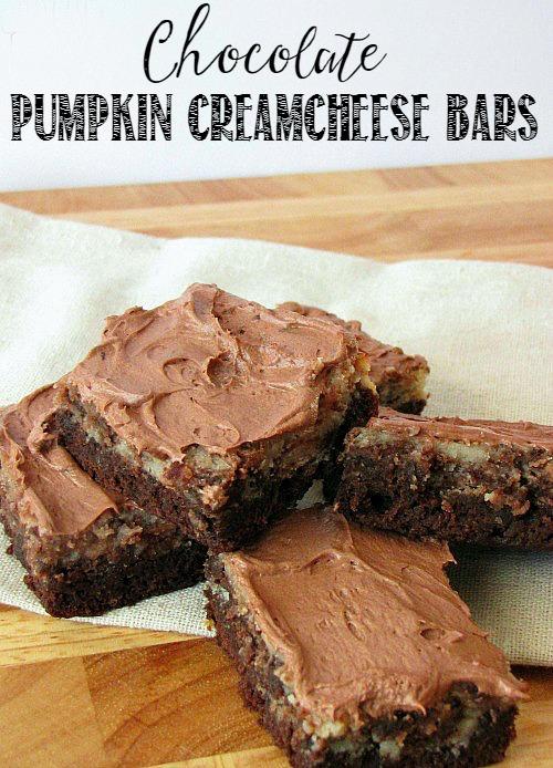 Chocolate pumpkin creamcheese swirl bars.  SO good!