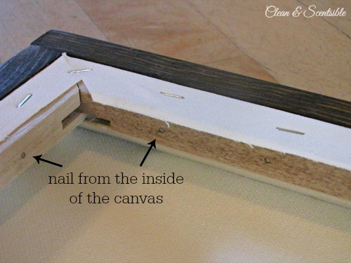 Learn how to frame a canvas with wooden garden stakes! // cleanandscentsible.com