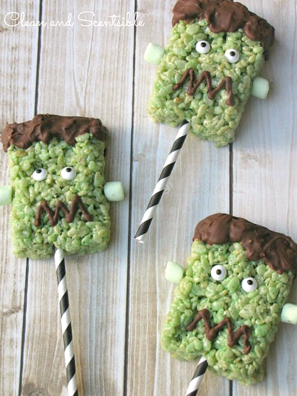 Halloween Treat Idea - Frankenstein Rice Krispie treat pops on a stick.