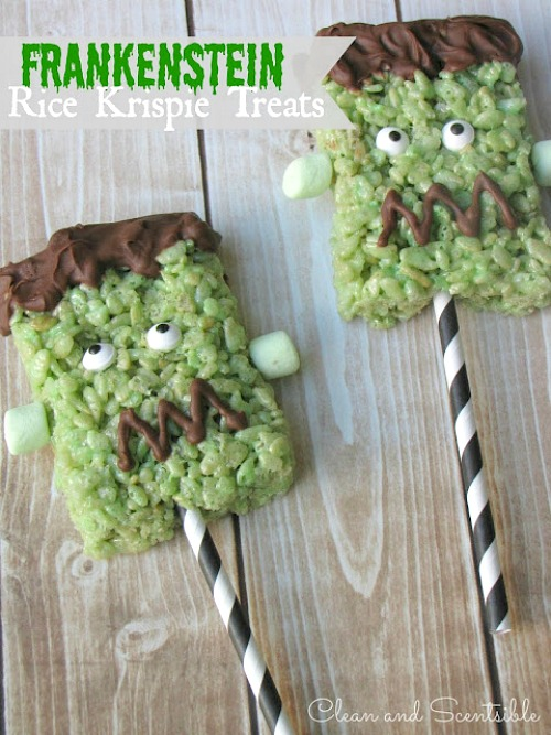 Frankenstein Rice Krispie Pops - so cute! // cleanandscentsible.com