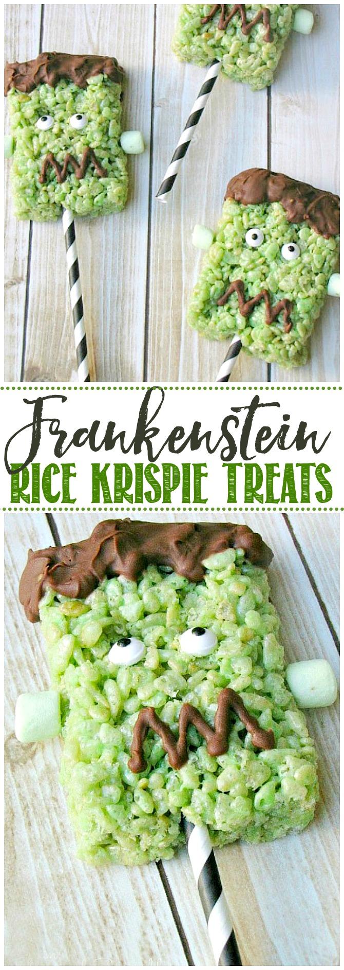 Cute Frankenstein Rice Krispie treat with paper straw handle.