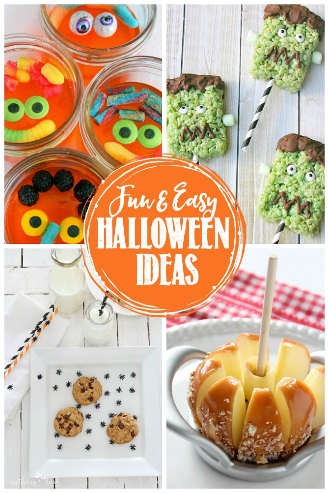 Collage of fun and easy Halloween ideas.