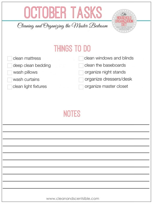 Great ideas for organizing your master bedroom and links to organize the rest of the house! // cleanandscentsible.com