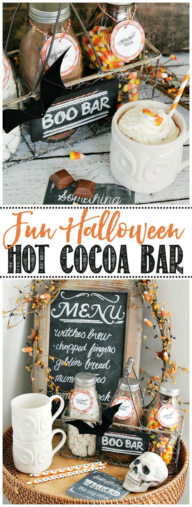 Cute Halloween hot chocolate bar with milk bottles in a crate.