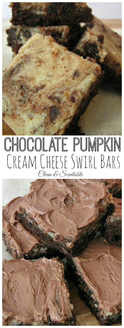 Chocolate Pumpkin Cream Cheese Swirl Bars - rich, creamy and oh so good! // cleanandscentsible.com