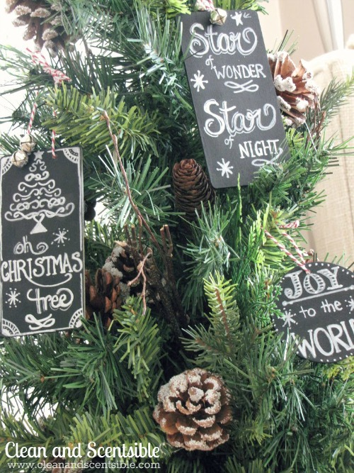 Cute chalkboard art ornaments. // cleanandscentsible.com
