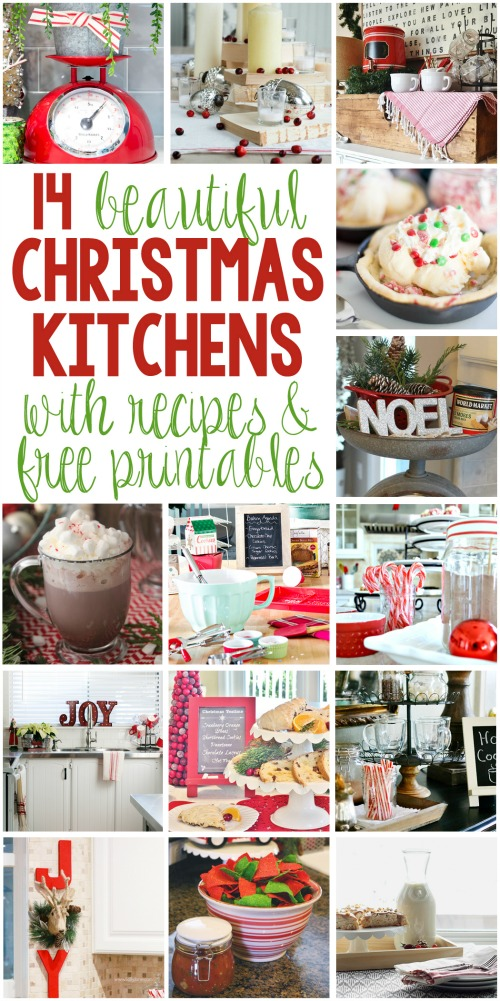 Creative ideas to decorate your kitchen for Christmas including free printables and holiday recipes.  // cleanandscentsible.com