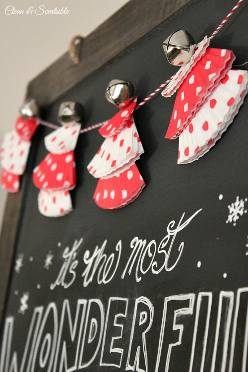 Cupcake liner Christmas tree bunting and Christmas chalkboard.  // cleanandscentsible.com