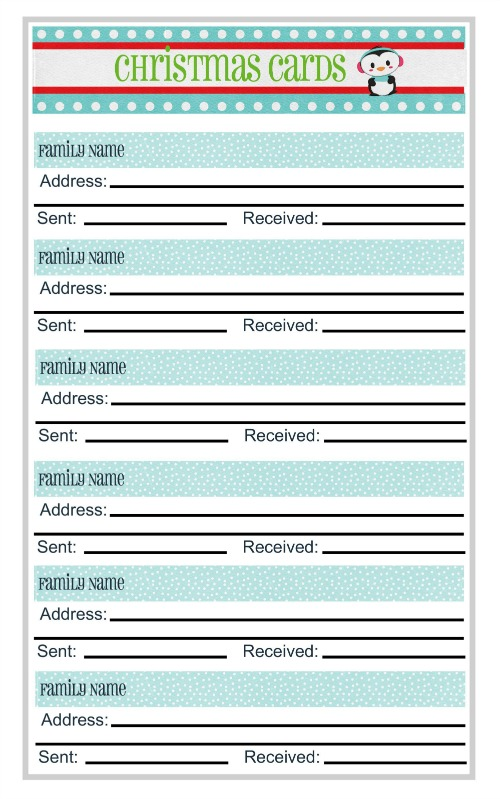 Free printable Christmas Card planning worksheet!  Keep track of who you need to send those Christmas cards to and get them sent out early!  Link for other Christmas planner printables too.