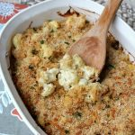 Creamy cauliflower gratin. Makes a perfect side dish for family dinners or holiday gatherings! // cleanandscentsible.com