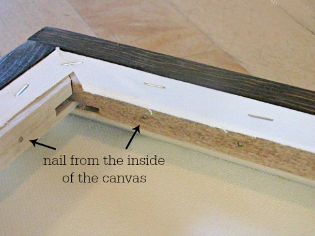 DIY canvas frame nailing from inside of frame.