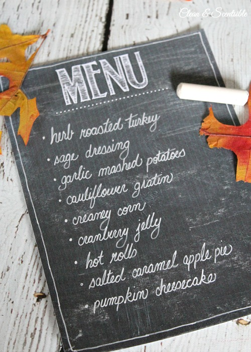 Free printable chalkboard menu.  Perfect for those holiday dinners! // cleanandscentsible.com
