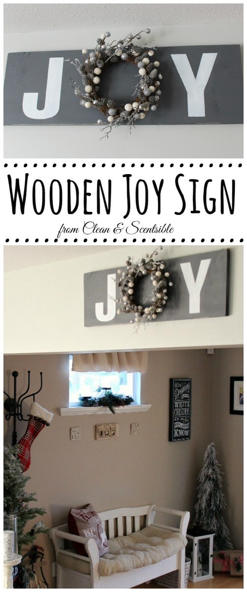 Simple but pretty wooden JOY sign. // cleanandscentsible.com