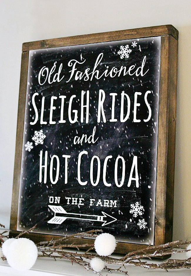 Old Fashioned Sleigh Ride sign with DIY canvas frame.