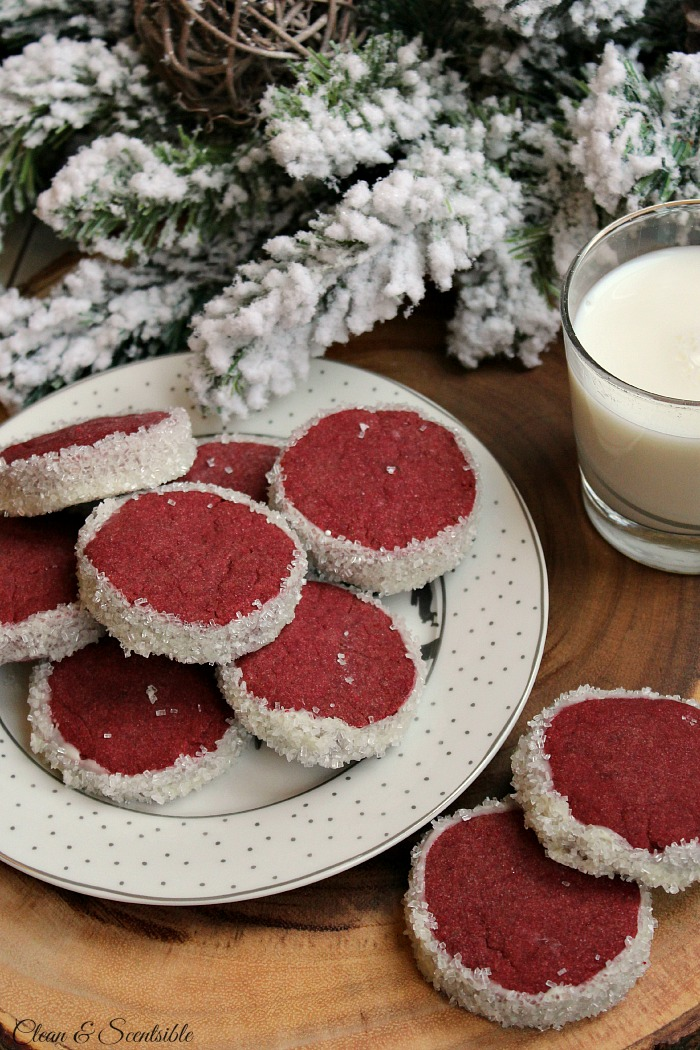 Red velvet shortbread cookies.