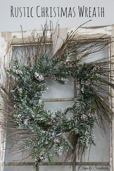 Beautiful rustic Christmas wreath. // cleanandscentsible.com