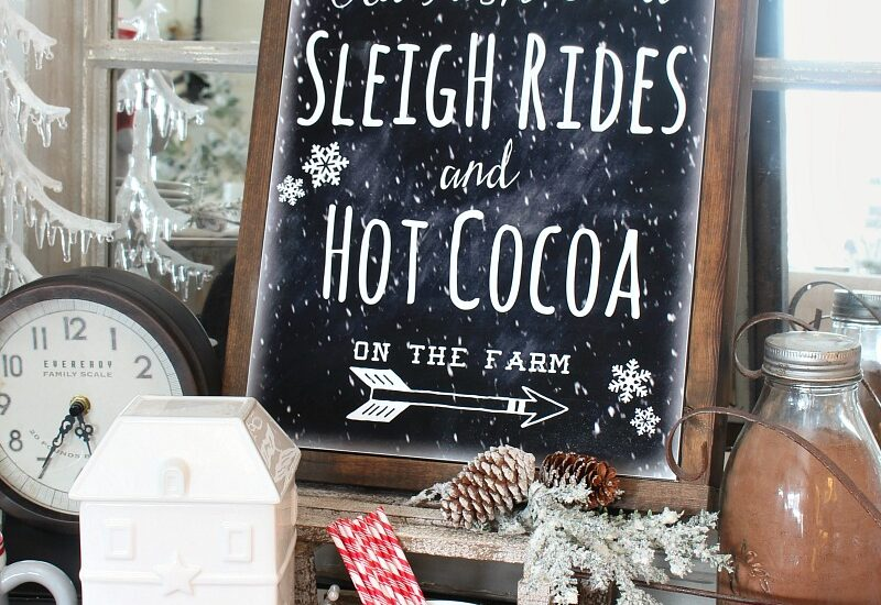 Old Fashioned Sleigh Rides cahlkboard printable with a DIY canvas frame.