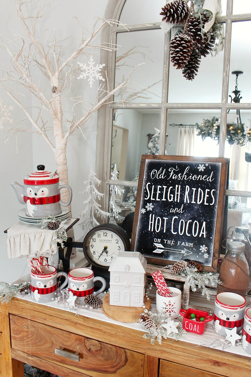 Rustic Christmas sign in a hot chocolate bar.