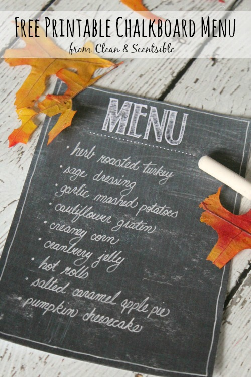 Free printable chalkboard menu. Perfect for Thanksgiving or Christmas dinner!