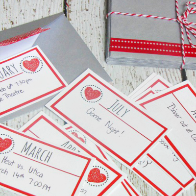 12 months of dates. Monthly cards with one activity to do each month. Free Christmas printables included.