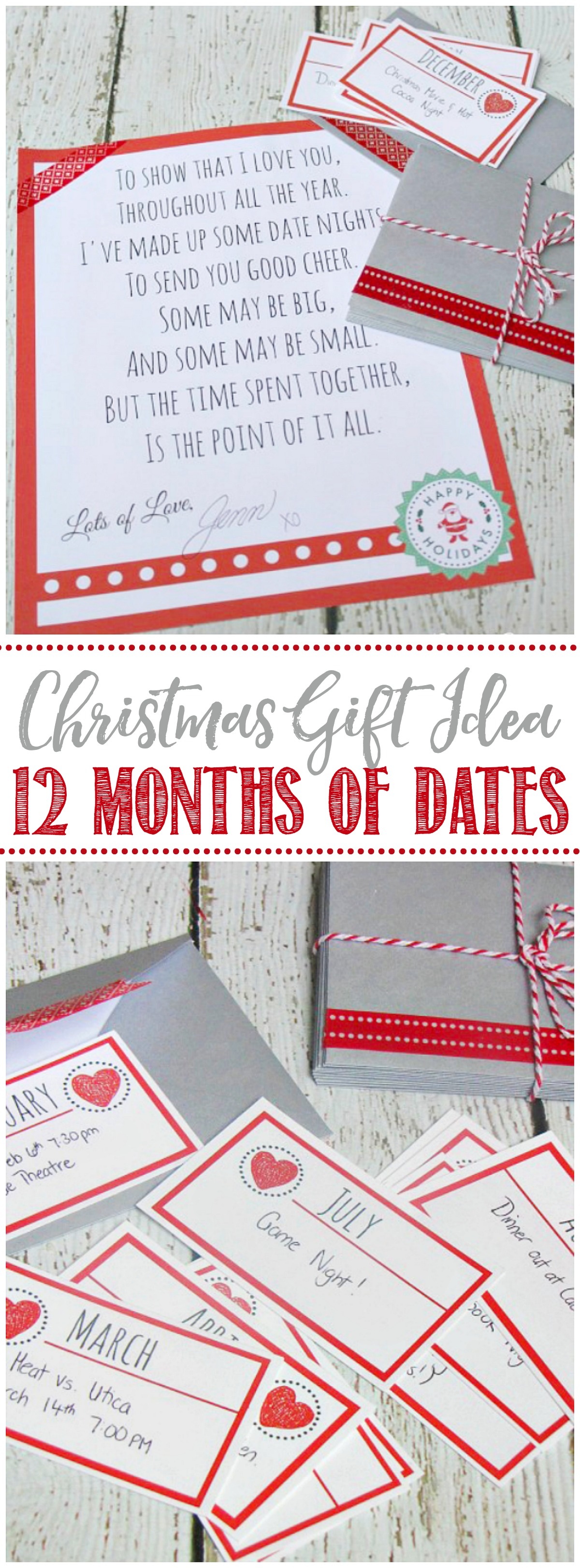 12 months of dates Christmas gift idea with free printables.