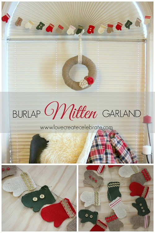 Cute burlap mitten garland tutorial.