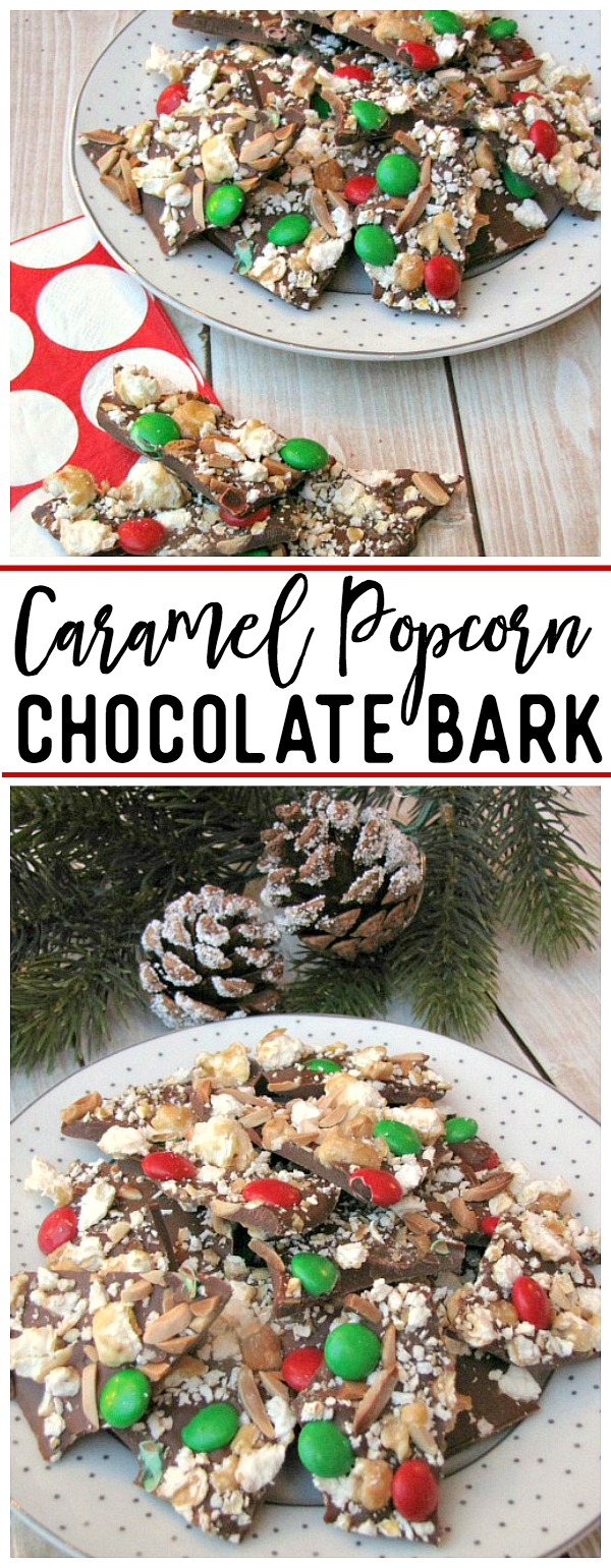 Caramel popcorn chocolate bark - SO good!