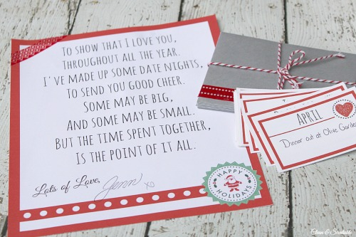 This is such a great Christmas gift idea! Put together 12 date nights - one for each month of the year and put them into monthly envelopes. This would be great to do with your spouse but would also be a fun idea for your kids or a close friend!