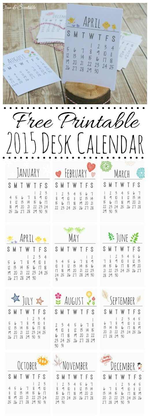 free printable desk calendar for 2015 makes a great gift idea cleanandscentsible