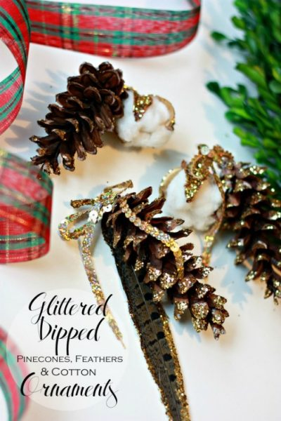 Glittered dipped pinecones, feathers, and cotton ornaments. So easy and basically free!
