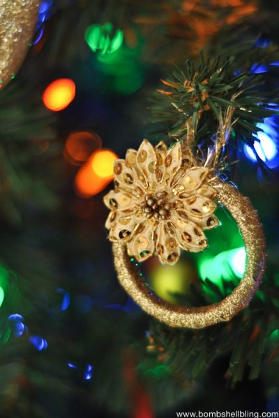 Gold wreath Christmas ornaments made from shower curtain holders!
