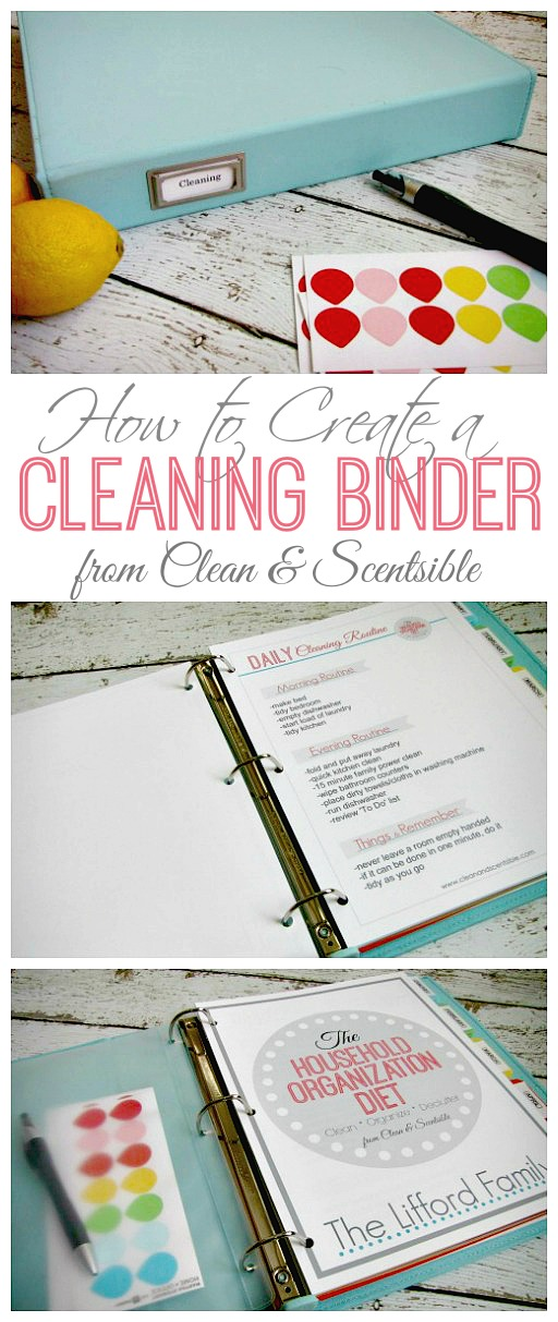 Great tips and ideas on how to create and use a cleaning binder.  Free printables included.