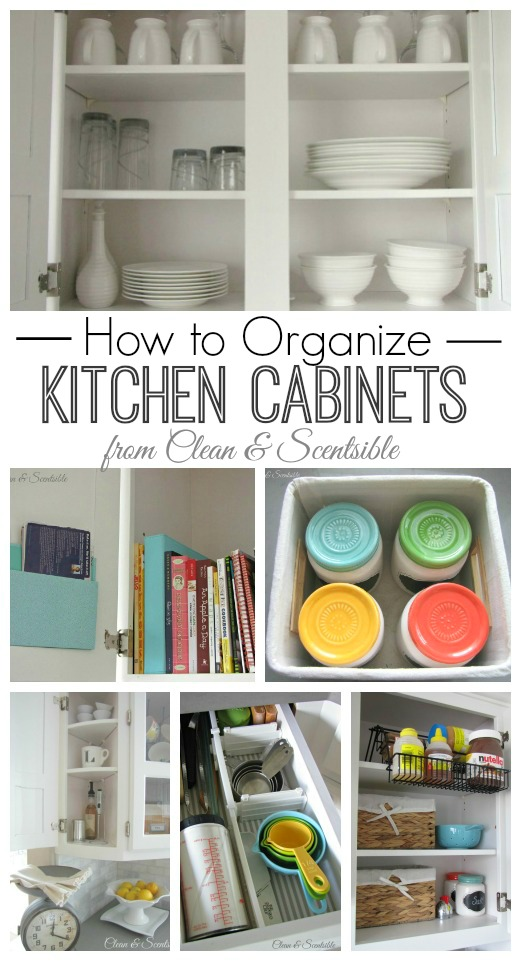 Lots of easy tips and tricks to get {and keep!} your kitchen cabinets organized! // cleanandscentsible.com
