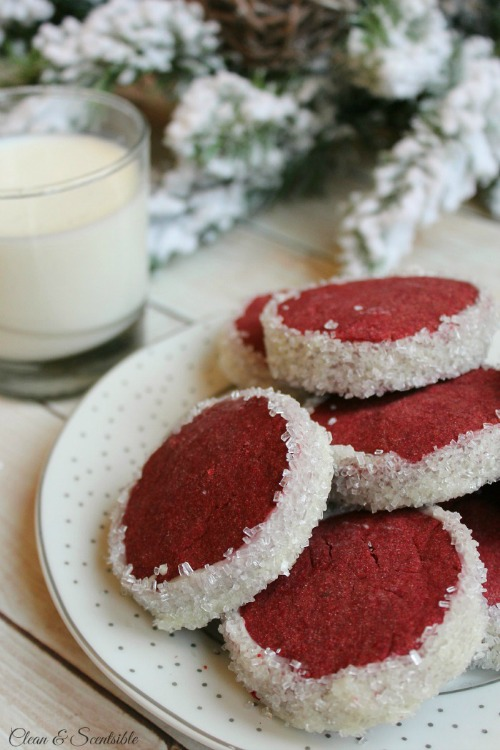 Red velvet shortbread cookies. A little twist on an old favorite!  // cleanandscentsible.com